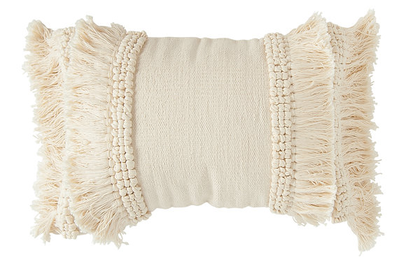 Cream Cotton & Chenille Woven Lumbar Pillow with Long Fringe DF1655