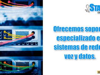 Ofrecemos soporte especializado en sistemas de redes, voz y datos.