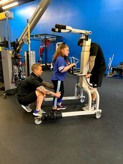 Our specialist Ross LaBove is helping Aubree Ford (CP) on her balance and coordination with the LiteGait.