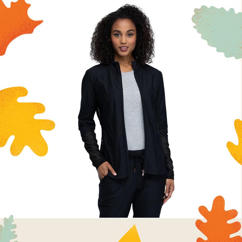 Cherokee Form Zip Front Jacket in Black
