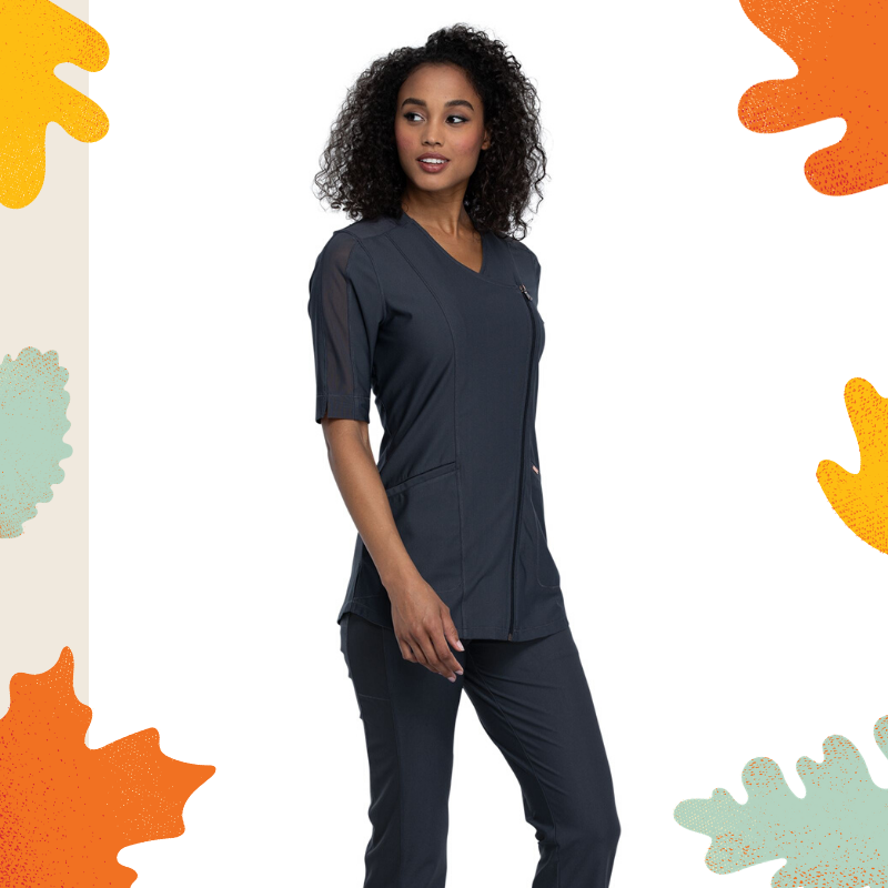 Cherokee FORM Asymmetrical Zip Front Tunic in Pewter