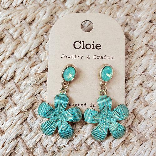Teal Mist Blossom Earrings