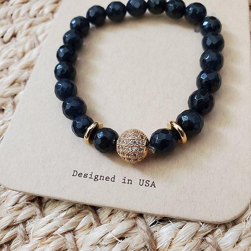 Black Sparkle Ball Bracelet