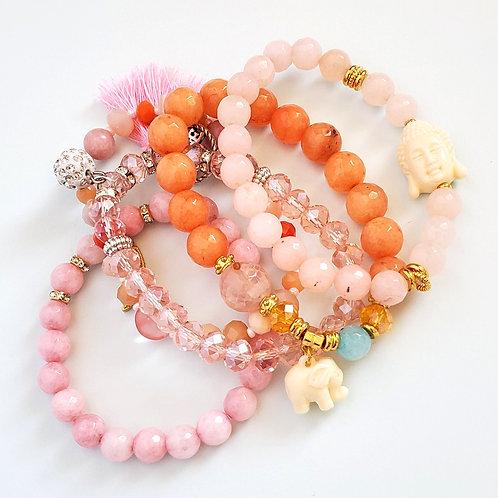 Blush • Buddha• Elephant • Sparkle: 5pcs Beaded Bracelet Assortment Set