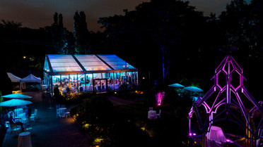Glass Pavilion & Accent Lighting in the Gardens - Pink & Blue.jpg