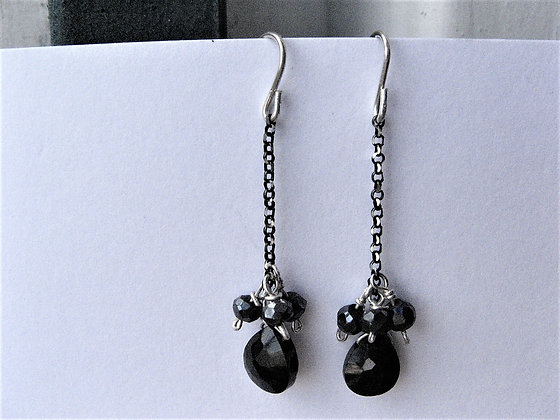 Silver earrings with Spinel natural gems
