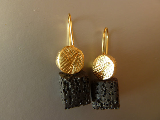 Square Lava gold earrings.