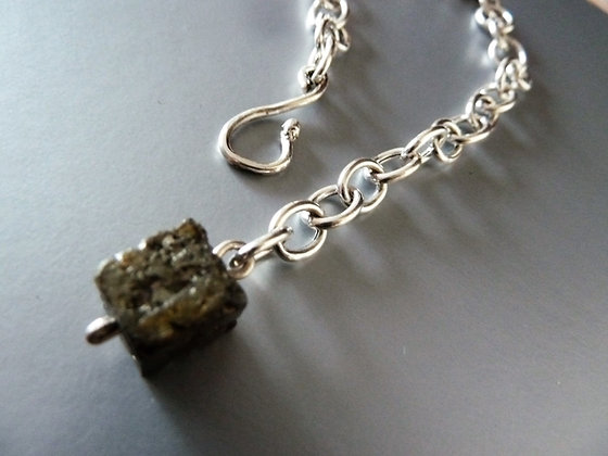 Silver chain bracelet with Pyrite natural gemstone