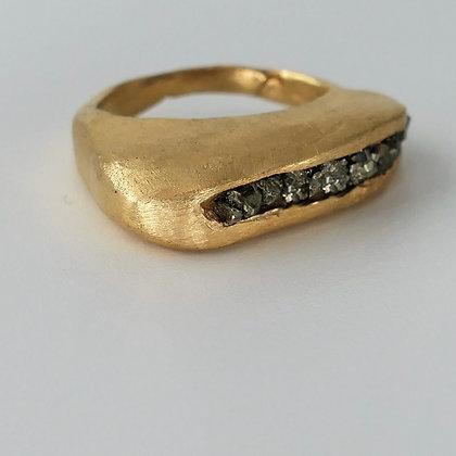Elongated raw hidden gems goldfilled ring
