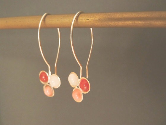 Trio earrings, sterling silver with natural gems