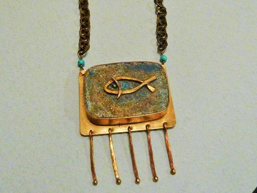 Square Canaanit stone pendant with fish symbol