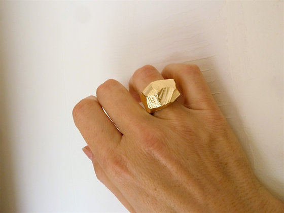 Unusual abstract 18 kt gold filled  ring, nature's statement on your fin