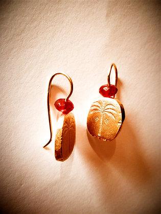 Symbol earrings with Carnelian bead