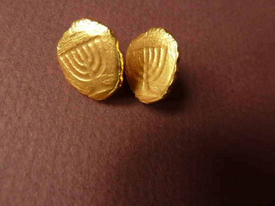 Menorah symbol golden studs