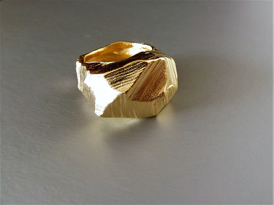 Unusual abstract 18 kt gold plated  ring, nature's statement on your finger