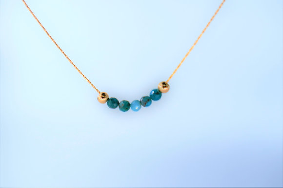Tiny gold necklace Turquoise beads on gold chain