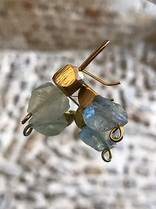Natural gemstone earrings with small rock element