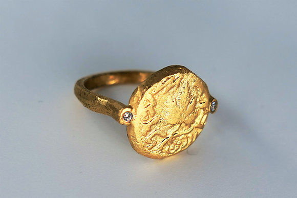 Agrippa ancient coin ring with zircons