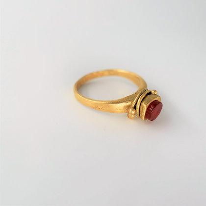 Carnelian ring 18 kt gold filled