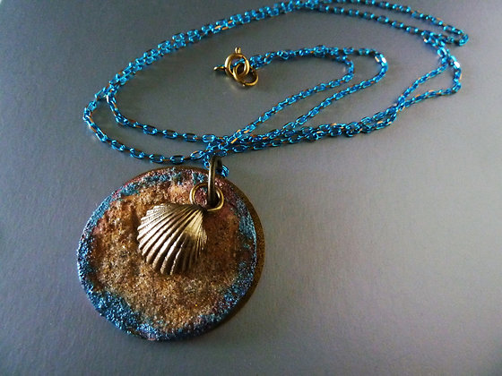 Mediteranian necklace- 3 layered pendants with  shell on blue brass chain