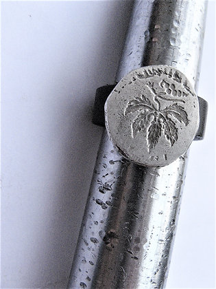 Leather ring with silver coin vine leaf