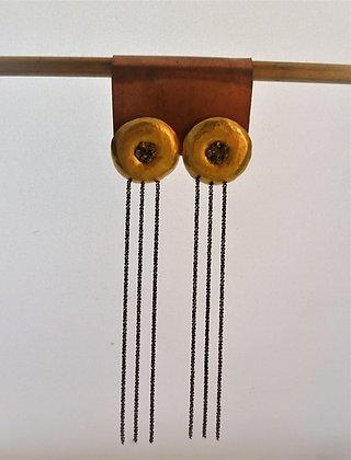 עגילים צמודי אוזן מוזהבים עם 3 שרשראות