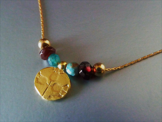 Delicate necklace with pomegranate coin and gemstone beads