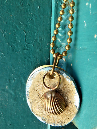 3 layered  shell pendant on blue brass chain