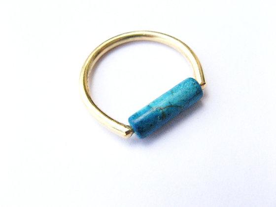 Blue Jasper gold fill ring, elongated tiny natural gemstone