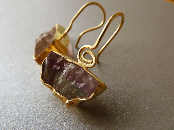 Raw Fluorite earrings wrapped in gold one of a kind -->sold<--