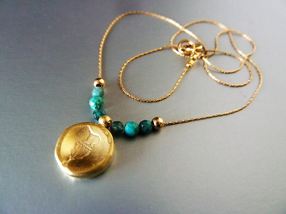 Amphora goldfilled necklace with Turquoise beads