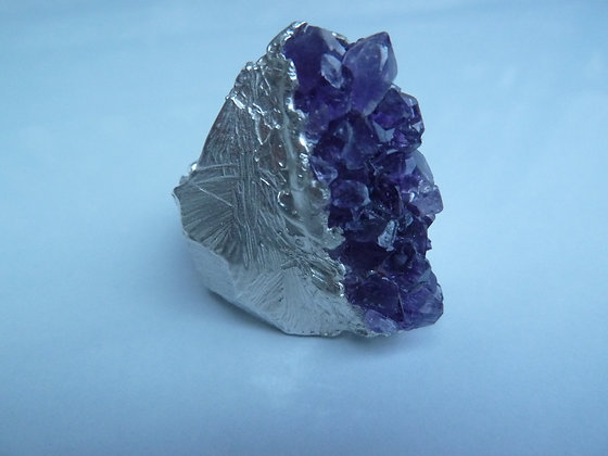 Large raw Amethyst ring