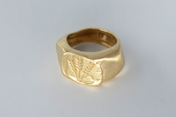 Unusual signet gold filled ring with barley and wheat symbol engraving