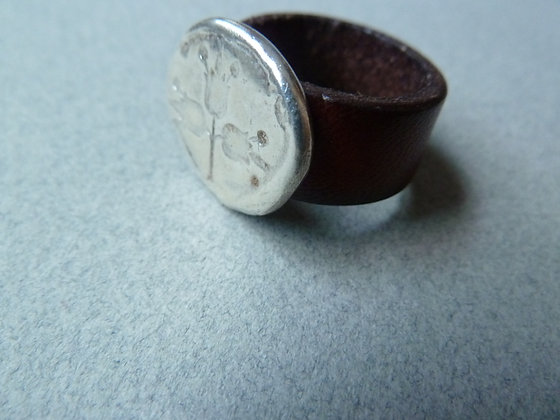 Leather ring with silver coin pomegranate engraved