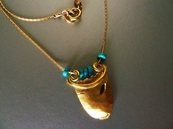 Goat face necklace with Turquoise gems