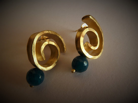 Gold spiral stud earrings with blue Agate bead