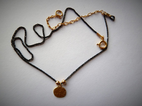Girls tiny necklace black and gold combination
