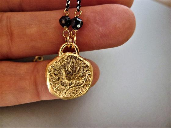 שרשרת מטבע עתיק כסף שחור וזהב
