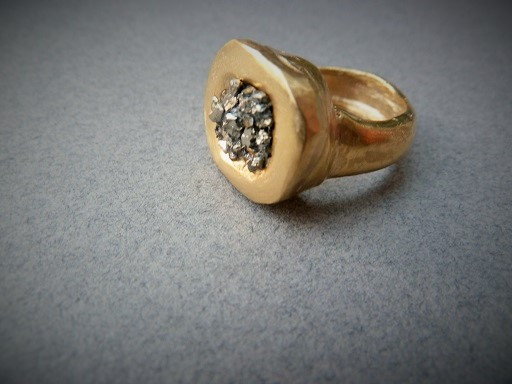 Pyrite statement ring