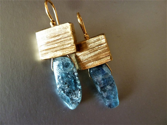 Kyanite cube earrings