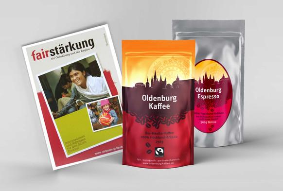 Projekt: Oldenburg kauft fair,  Infobroschüre mit Adressen von Einzelhandelsgeschäften in Oldenburg. Passend dazu der fair gehandelte Oldenburg Kaffee.