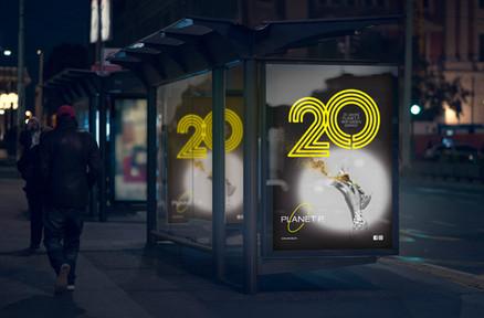 Kunde: Planet P. Achern  Projekte: Corporate Design für das 20-jährige Jubiläum  Umsetzung: Aktionslogo, Keyvisual, Anzeigen, Schaufensterbeschriftung, Großposter, Citylight, Werbemittel, Jubiläumsgewinnspiel