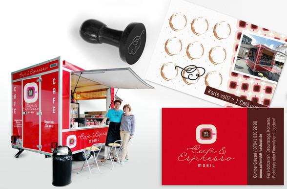 Kunde: Cafe- und Espressomobil, Sasbach Corporate Desig, Gestaltung des Verkaufswagens und Internetauftritt
