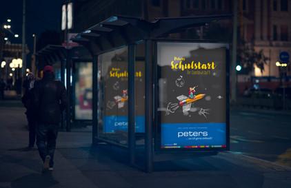 Kunde: Kaufhaus-Peters, Achern  Projekt: Schulstart, Keyvisual und Text  Umsetzung: Anzeigen, Citylight-Poster, Kundenstopper Schaufensterbeschriftung