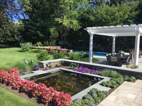 Pools, patios, hot tubs and pergolas in natural settings