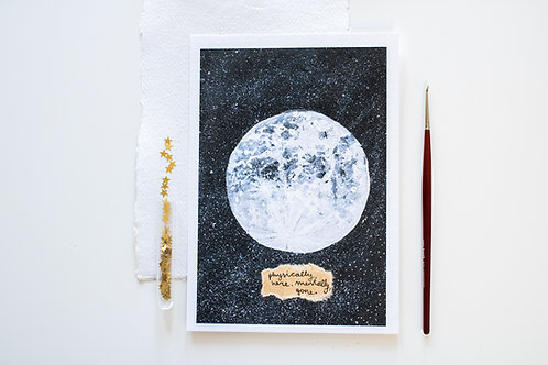 A5 Print 'The moon and her galaxy'