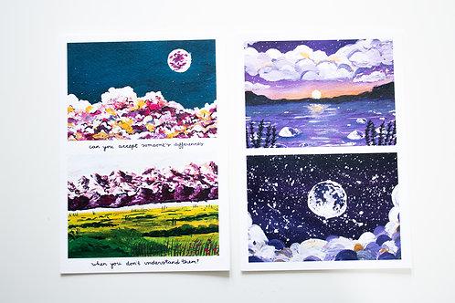 A5 Print Set 1 - Purple cotton candy clouds