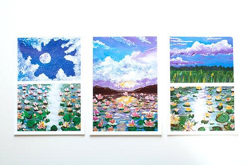 A5 Print set 3 - Water lilies