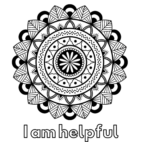 Mindful affirmation colouring sheets