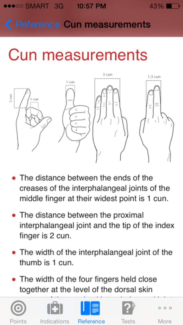 Cun measurements screen from the Manual of Acupuncture iOS app